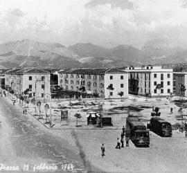 La futura piazza XV Febbraio con le case per senza tetto del quartiere Fraschetti alla fine degli anni Quaranta.