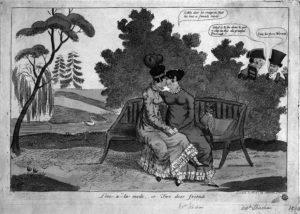 Caricatura che irride alla presunta relazione tra la Regina Maria Carolina e Lady Hamilton.