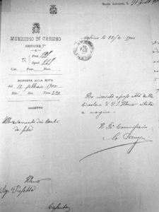 Lettera del Comune di Cassino del 22 febbraio 1900.