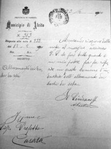 Lettera del Comune di Alvito del 23 febbraio 1900.