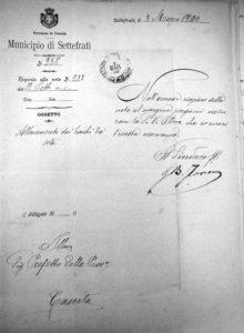 Lettera del Comune di Settefrati del 3 marzo 1900.
