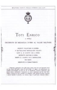Motivazione della concessione della medaglia d'oro al Valor Militare.