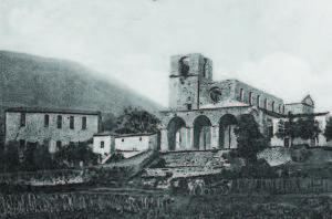 Aquino. La cartiera Pelagalli e la chiesa della Madonna della Libera in una foto anteguerra (ACJ).