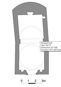 Fig. 4: Planimetria della chiesa di San Sebastiano (Rilievo di M. Zambardi, 1992).