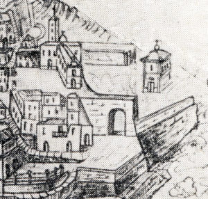 Fig. 7: Vecchio grafico riproducente la chiesa di San Sebastiano e l'omonima porta.