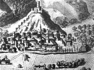 """Fig. 4 - San Germano in una veduta del Settecento. (dal Mabillon, """"Iter Italicum"""")"""
