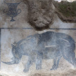 Fig. 8: Il mosaico del rinoceronte dall'ambiente A 46 (foto: Giovanni Murro).