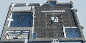 Fig. 9: Ricostruzione del grande frigidarium maschile e dell'iscrizione musiva (ricostruzione 3D: Ivan Ferrari).
