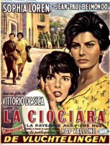 Locandina del film La Ciociara per la Francia (con sottotitolo La paysanne aux pieds nus).