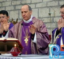 Pastenelle (Cervaro) 12 marzo 2017, Celebrazione Eucaristica (da sx): p. Ricky Ignacio MF, p. Henry Maung MF, il vescovo Gerardo, p. Domenico Borge provinciale MF.