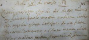 Atto di battesimo di Carlo Mattia, figlio di Giovan Paolo, del 18 marzo 1613 (in APA).