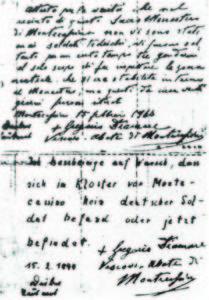 La dichiarazione, bilingue, dell'abate Gregorio Diamare.