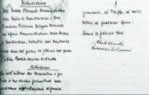La dichiarazione di d. Nicola Clemente e d. Francesco Falconio.