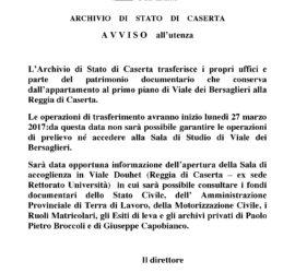 Trasferimento Archivio di Stto di Caserta