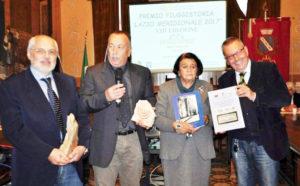 Gli organizzatori del Premio FiuggiStoria Lazio Meridionale 2017, Pino Pelloni e Giovanna Napolitano Morelli, con i vincitori del premio, Gerardo Di Giammarino e Gaetano de Angelis-Curtis.