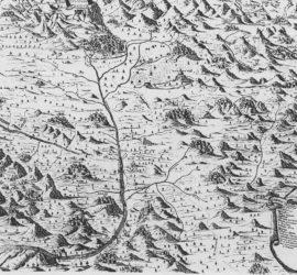 La Terra di San Benedetto all'epoca della sua massima espansione in una ricostruzione del XVIII secolo (da Gattola).
