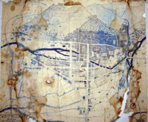 La pianta di Cassino, con toponomastica della città, eseguita da Fernando De Rosa nel corso della sua degenza al Policlinico di Roma.