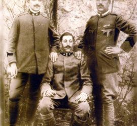 Tre fratelli Di Ciacca in divisa militare: Luigi (a destra) Gerardo (al centro) e Cesidio (a sinistra).