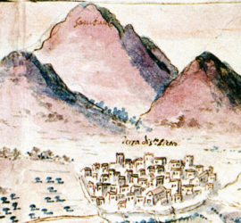 Fig. 3. Il borgo fortificato di San Pietro Infine, particolare tratto da un disegno di M. Guglielmelli (1715-1717).