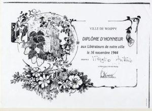 Diploma d'onore rilasciato ad Antonio Vittiglio dagli Amministratori del Comune di Woippy (Francia) ai liberatori della città avvenuta il 16 novembre 1944.