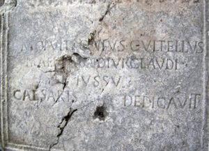 L'epigrafe dell'acquedotto di Valleluce.