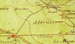 Fig. 1 - Particolare della Tav. 1:20.000, dell'Opificio Topografico di Napoli, Foglio 13°, n. 14, anno 1851.