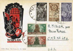 Fig. 11: Cartolina ricordo dell'Insurrezione di Varsavia con le vignette del «Soccorso di Guerra».