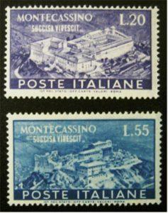 Fig. 12: Francobolli del 1951 per la ricostruzione dell'Abbazia.