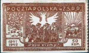 Fig. 3: Il francobollo polacco stampato in Urss. Al centro soldati polacchi con la divisa britannica con al di sotto la scritta dojdziemy-arriveremo e sullo sfondo l'aquila emblema nazionale.