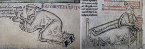Fig. 1. Mattew Paris, Iter de Londinio in Terram Sanctam (Londra, BL, Ms. Royal 14 C. VII), dettagli: sopra autoritratto f. 6r, sotto sul letto di morte f. 218v.