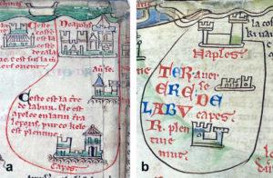 Fig. 4. Mattew Paris, Iter de Londinio in Terram Sanctam. Particolare della Terra di Lavoro con le città di Aversa, Capua e Napoli. a. Ms. 26, f. IIIr; b. Ms. Royal 14 C. VII, f. 4r.