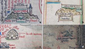 Fig. 5. Mattew Paris, Iter de Londinio in Terram Sanctam. Particolare Montecassino e San Germano: a. Ms. 26 (f. IIIr); b. Ms CN (f. 184r); c. Ms. R14 (f. 4r); d. Ms. 16 (f. IIIr).