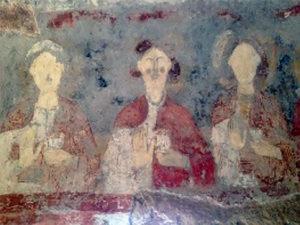 Cripta della Cattedrale di Anagni, Giudizio universale, particolari: le vergini sagge (sopra), le vergini stolte (sotto).