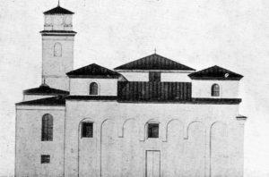 Disegno eseguito da Valentin Jorga nel 1940: si può notare il rifacimento della torre centrale che risulta abbassata e mancante del cornicione a dente di sega.