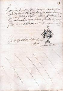 Tav. 3 (sotto) Montecassino, Archivio dell'Abbazia, notaio Giuseppe Antonio Pacifico di Arpino, Protocollo del 1656, f. 44r.