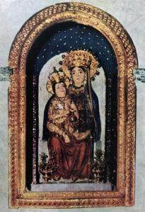 Santuario della Madonna dei Lattani:esterno, navata interna e la Venerata statua di Maria SS. dei Lattani «Regina Mundi».