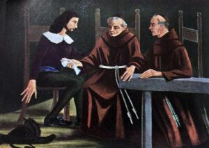 Il Servo di Dio Fra Domenico mentre regala il suo dito pollice a un nipote (olio di p. Costantino Comparelli, passionista).