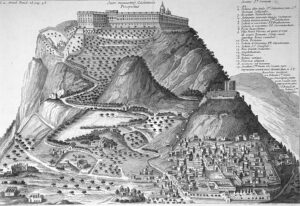 Montecassino e San Germano in una incisione di Mabillon, Annales, 1739.