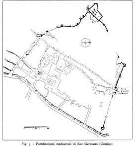 L'impianto urbano di San Germano ai suoi inizi (Carettoni).
