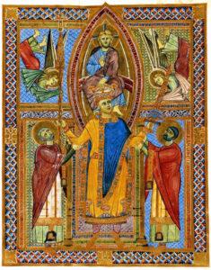 Incoronazione di Enrico II in una miniatura coeva: Sacramentario (1002-14) - Monaco.