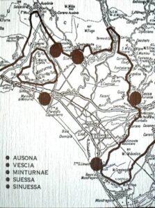 Cartina con la presunta Pentapoli e insediamenti.