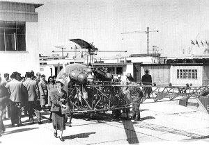 L'elicottero Samba 23 nell'eliporto della Fiera.