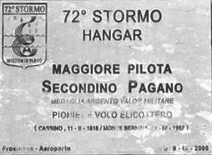 La targa all'aeroporto «Moscardini» di Frosinone.