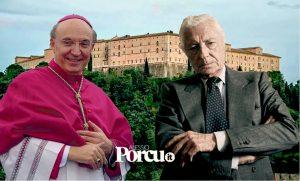 Mons. Fabio Bernardo D'Onorio e l'avv. Gianni Agnelli. Sullo sfondo l'abbazia di Montecassino (fotomontaggio tratto da www.alessioporcu.it).
